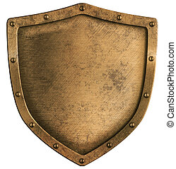 envelhecido, bronze, ou, bronze, metal, escudo, isolado,...