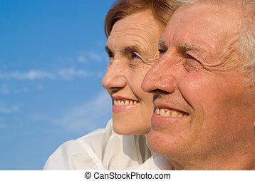 envelhecido, céu, pessoas