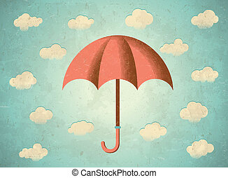 envelhecido, guarda-chuva, cartão