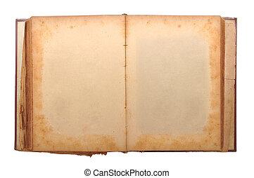 envelhecido, livro, em branco