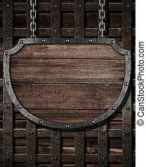 envelhecido, medieval, escudo, signboard, pendurar, madeira,...