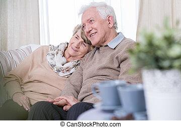 envelhecido, par, namorando, casa