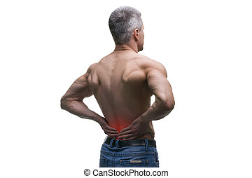 envelhecido, tiro, corporal, dor, costas, muscular, isolado, meio, estúdio, fundo, macho branco, homem