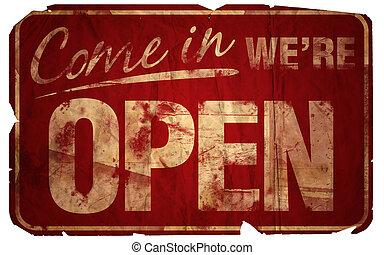 envelhecido, venha, em, we're, abertos