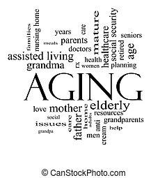 envelhecimento, conceito, palavra, pretas, nuvem branca