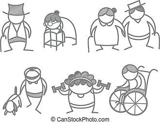 envelhecimento, jogo, ancião, pessoas