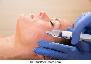 envelhecimento, mulher, mesotherapy, rosto, anti, facial,...