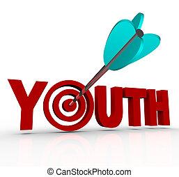 envelhecimento, palavra, alvo, parada, jovem, ficar, juventude, seta