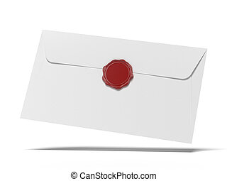 envelop with wax press isolated on a white background. 3d ...