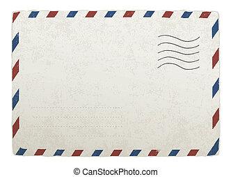 envelope., 10., szüret, tervezés, eps, vektor, sablon, postázás, -e