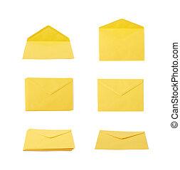 envelope, amarela, letra, isolado
