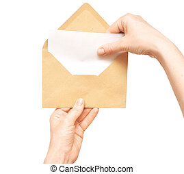 envelope, amarela, mão