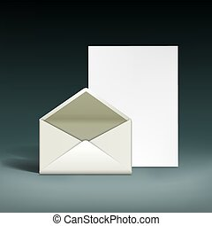 Envelope and a sheet of paper.