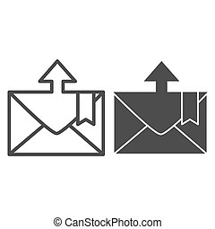 Envelope and arrow line and glyph icon. Message departure vector illustration isolated on white. Email outline style design, designed for web and app. Eps 10.