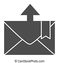 Envelope and arrow solid icon. Message departure vector illustration isolated on white. Email glyph style design, designed for web and app. Eps 10.