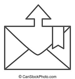 Envelope and arrow thin line icon. Message departure vector illustration isolated on white. Email outline style design, designed for web and app. Eps 10.