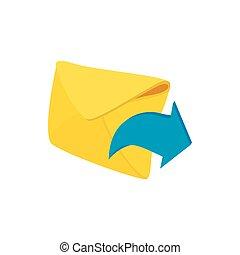 Envelope and blue arrow icon, cartoon style