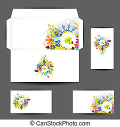 Envelope and business cards, floral style for your design