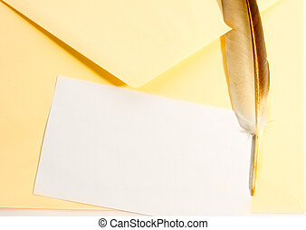 Envelope and feather isolated