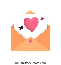 envelope and heart with arrow isolated icon