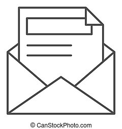 Envelope and letter thin line icon. Document vector illustration isolated on white. Open mail outline style design, designed for web and app. Eps 10.