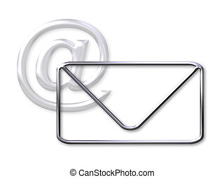 Envelope and mail (@) symbol - silver bevel - white...