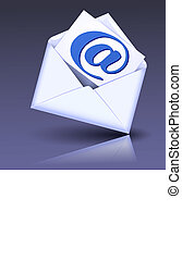 Envelope and paper with e-mail sign