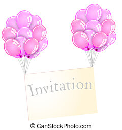 Envelope and pink balloons