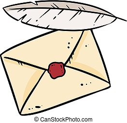 Envelope and quill doodle image. Cute cartoon of letter and feather logo. Media highlights graphic hand drawn sticker symbol