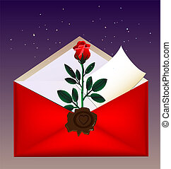 envelope and rose - on a dark background red envelope with a...