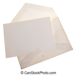 Vintage old envelope with blank sheet of paper.