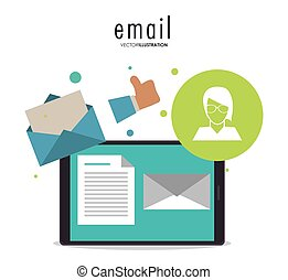 Envelope avatar document smartphone email icon. Vector graphic