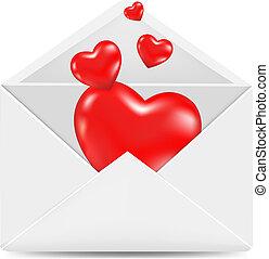 envelope branco, com, vermelho, corações