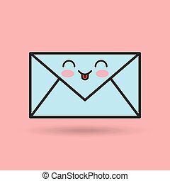 envelope character kawaii style vector illustration design