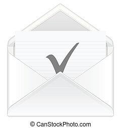 envelope check symbol - Open envelope containing check...