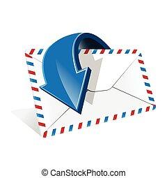 Envelope - Illustration, blue arrow around white envelope on...