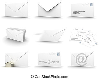 envelope collage - 3d rendered image of envelopes in...
