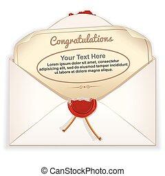 envelope, com, cartão cumprimento