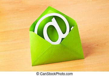 envelope, com, e-mail, símbolo