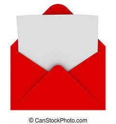 envelope, com, em branco, letra