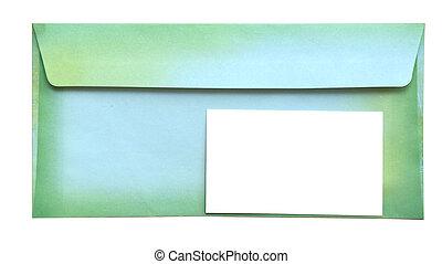 envelope, com, vazio, cartão