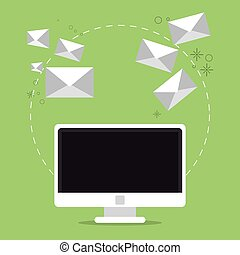 Envelope computer email message mail icon. Vector graphic