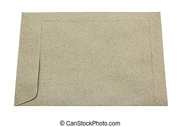 envelope, costas, lado, isole, branco, fundo
