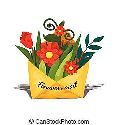 Envelope delivery flowers inside, spring gift to the woman, mailing mail icon