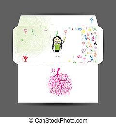 envelope., desenho, aniversário, feliz