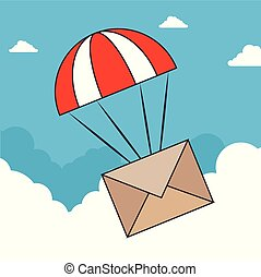 envelope, desenho, nuvens