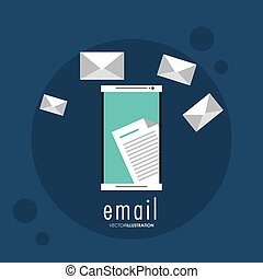 Envelope document smartphone email icon. Vector graphic