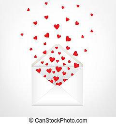 envelope - open envelope and hearts. Love letter