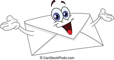 Envelope - Cartoon envelope raising his hands