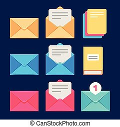 Envelope, email and letter vector icons. Postal...